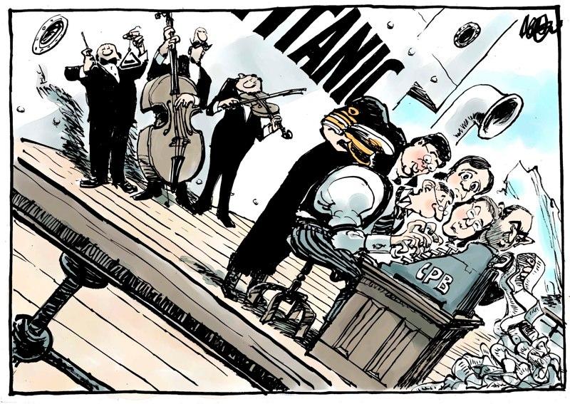 De economie zinkt als de Titanic